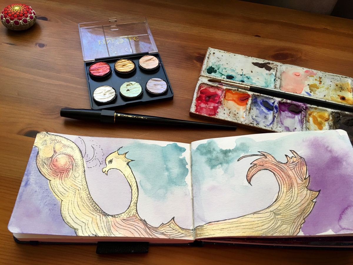 Finetec mica watercolors example painting by Jessica Seacrest with winsor & newton twilight line