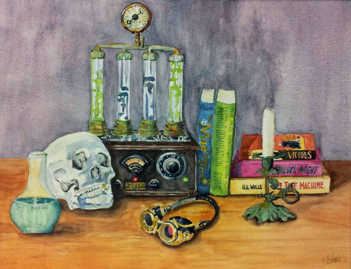 Doodlewash and Watercolor sketch by Melissa Garrison Elliott of Steampunk Still Life