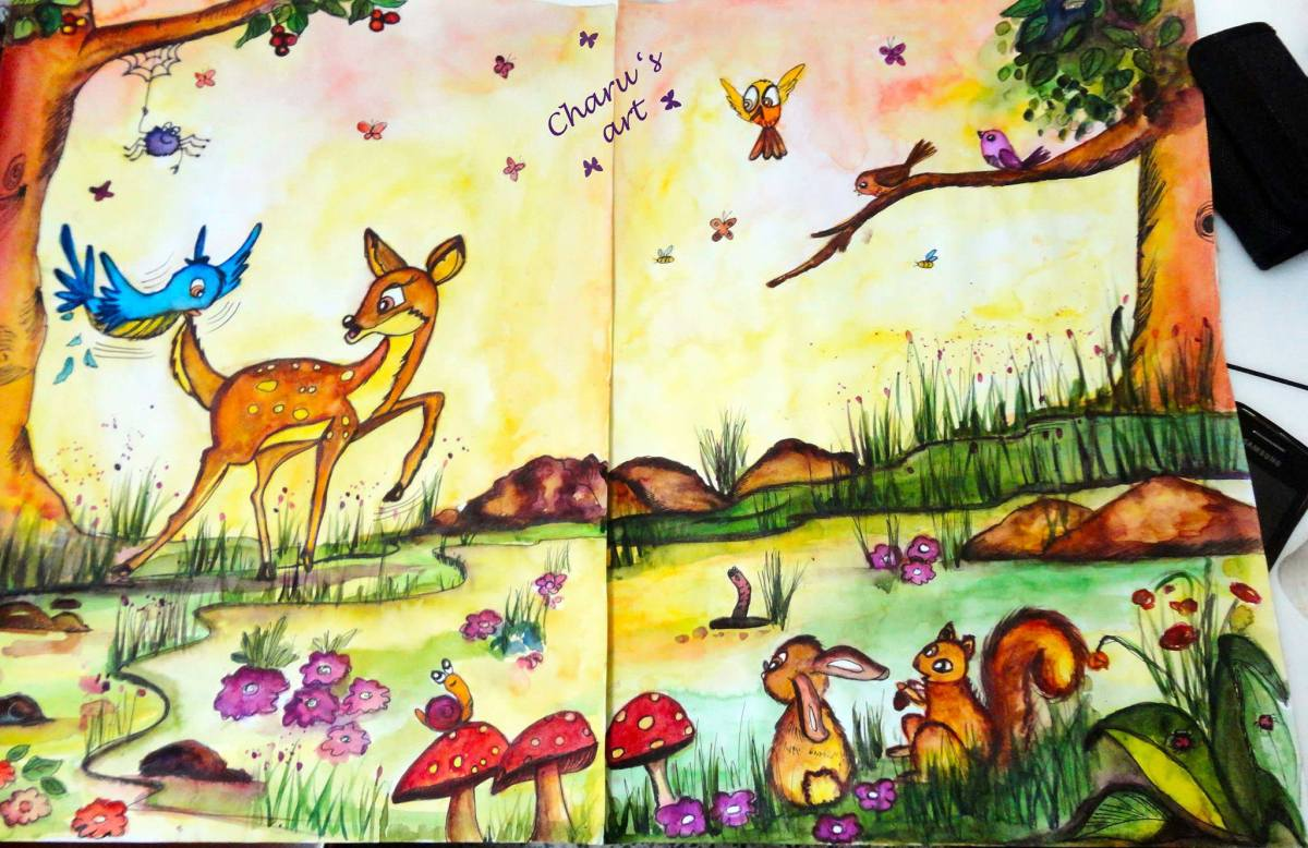 Doodlewash - Watercolor by Charu Jain of spread for Ten Zany Birds