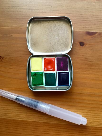 Pfeiffer Art Supply unwrapped half pans, metal tin and waterbrush