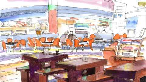 #Doodlewash - Watercolor sketch by Jonathan Price of View From A Noodle Shop - #WorldWatercolorGroup