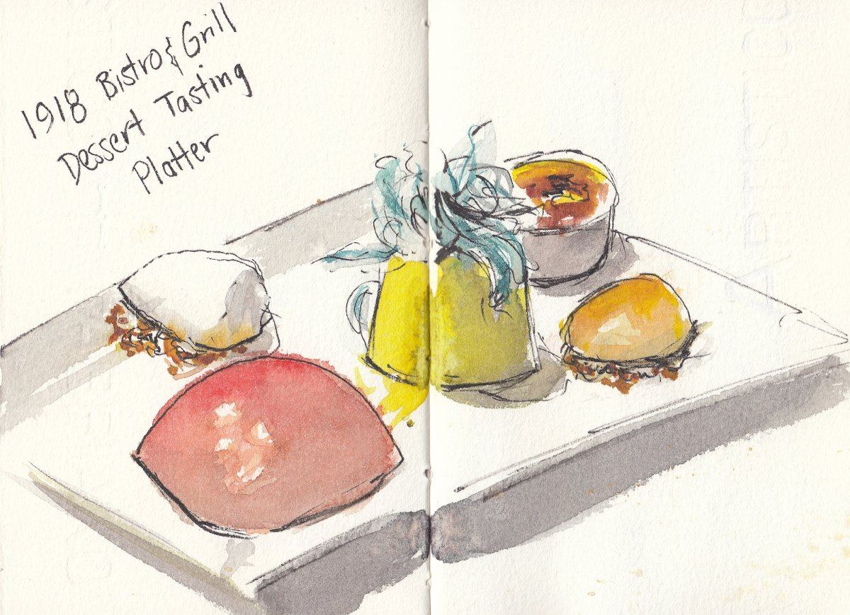 #Doodlewash - Watercolor sketch by Leslie Chua - 1918 Bistro & Grill Dessert Tasting Platter - #WorldWatercolorGroup