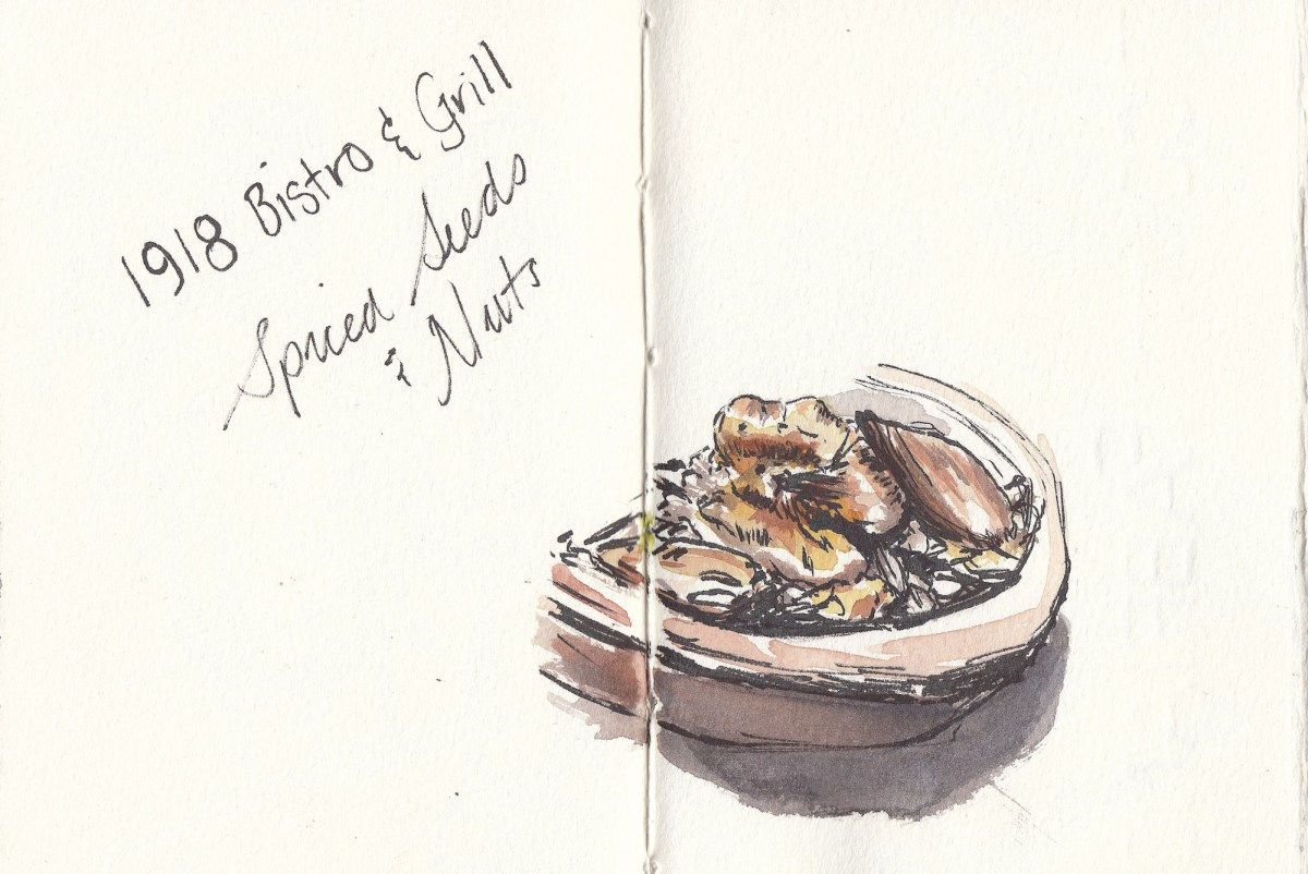 #Doodlewash - Watercolor sketch by Leslie Chua - 1918 Bistro & Grill Spiced Seeds and Nuts - #WorldWatercolorGroup
