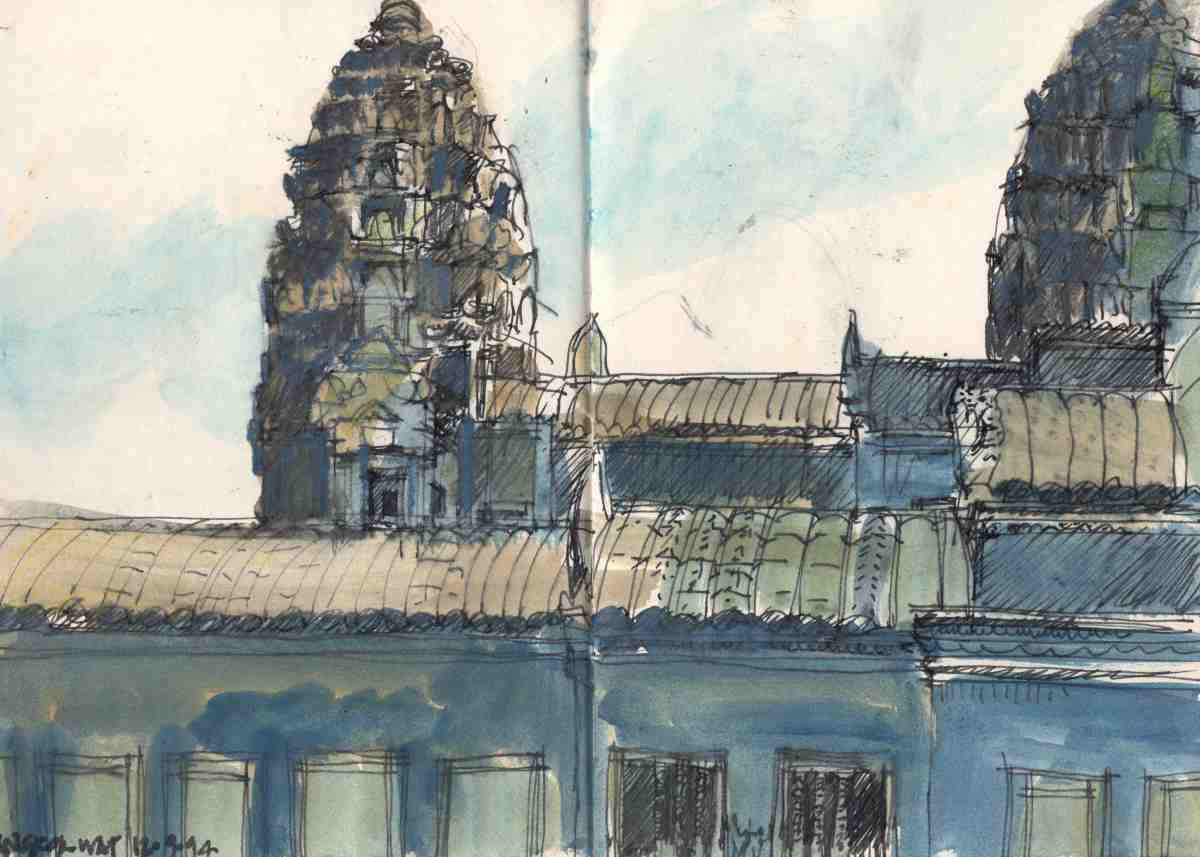#Doodlewash - Watercolor sketch by Jonathan Price of Angkor Wat - #WorldWatercolorGroup