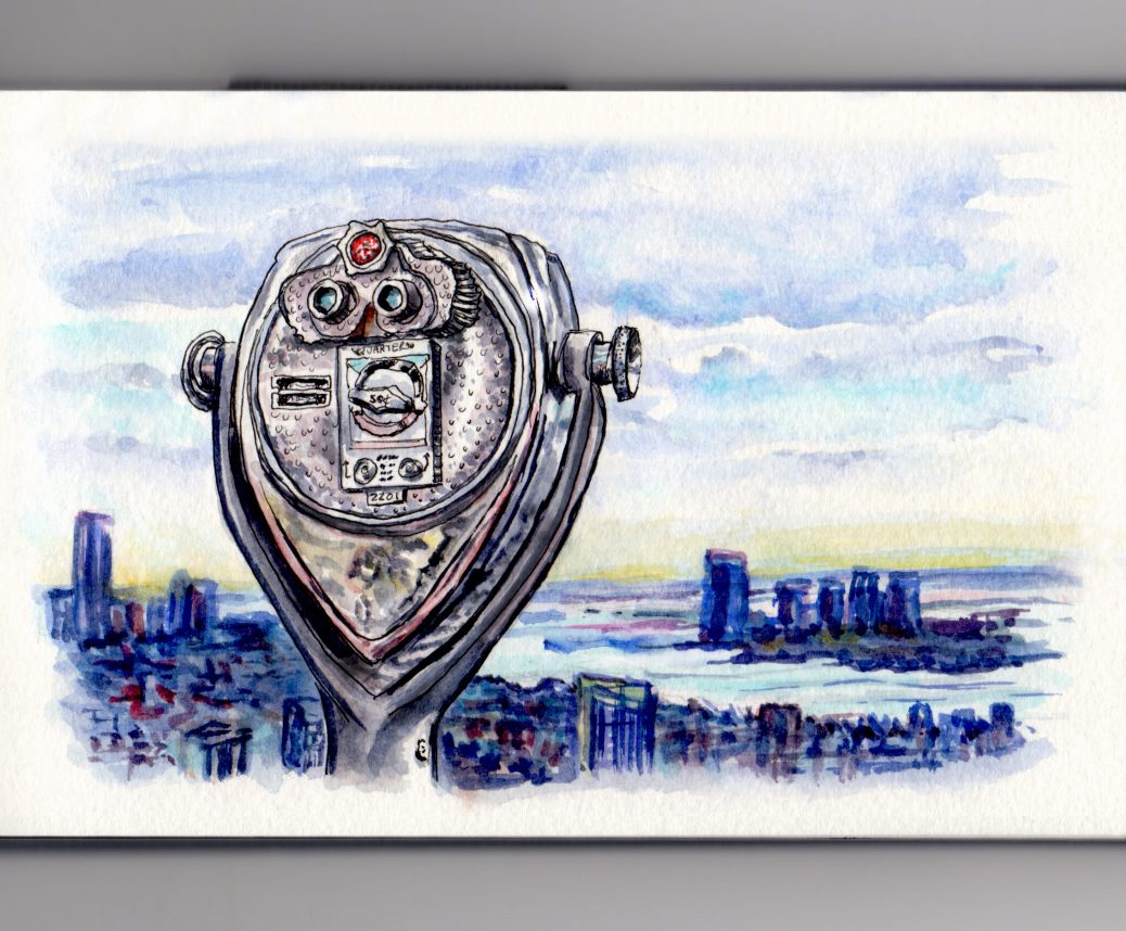 Day 10 #WorldWatercolorGroup Cityscape Coin-Operated Binoculars New York City Skyline