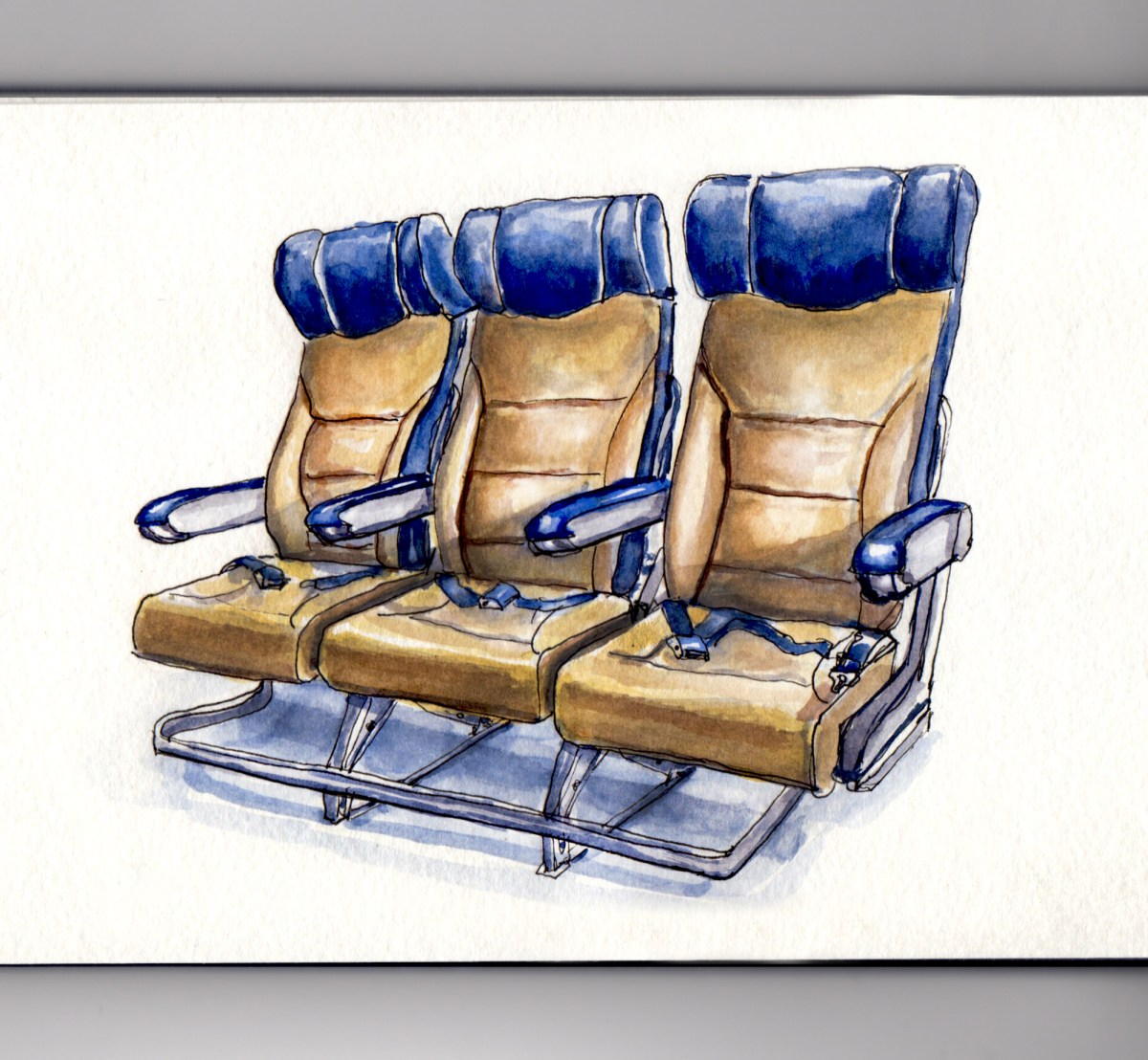 Day 2 #WorldWatercolorGroup Traveling By Plane Southwest Airlines Seats