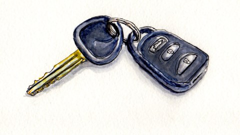 Day 22 #WorldWatercolorGroup No More Car Keys Public transporation