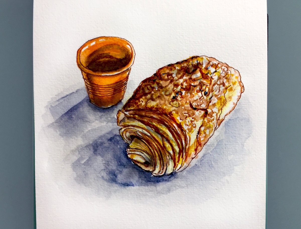 Day 23 #WorldWatercolorGroup Pain au chocolat avec espresso