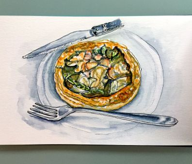 Day 27 #WorldWatercolorGroup Repas de Supermarche Food from the supermarket in Paris