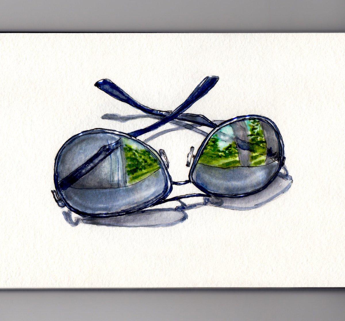 Day 5 #WorldWatercolorGroup Weekend Reflections Sunglasses deep blue black
