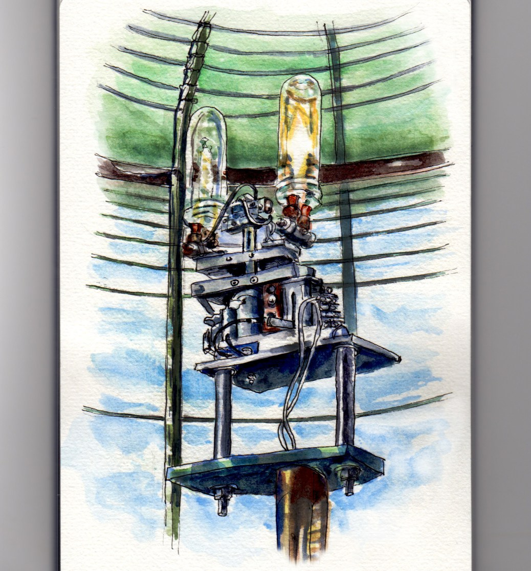 Day 7 #WorldWatercolorGroup Fresnel Lens Lighthouse Interior Candle On The Water