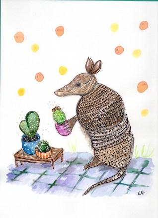 #Doodlewash - Watercolor by Anya Kopotilova - armadillo gardener - #WorldWatercolorGroup