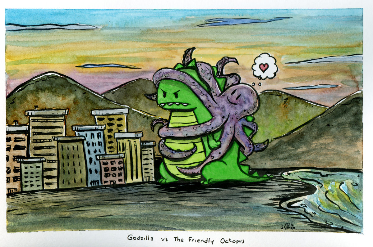 #Doodlewash - Watercolor comic by Damian Willcox, dorkboy comics - Godzilla vs the Friendly Octopus - #WorldWatercolorGroup