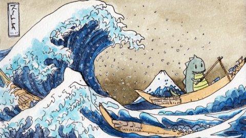 #Doodlewash - Watercolor comic by Damian Willcox, dorkboy comics - hokusai wave - #WorldWatercolorGroup