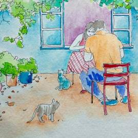#Doodlewash - Watercolor Sketch by Abel Pabres - people sitting with cats - #WorldWatercolorGroup