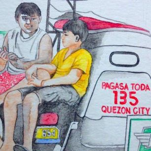 #Doodlewash - Watercolor Sketch by Abel Pabres - boys on a car - #WorldWatercolorGroup