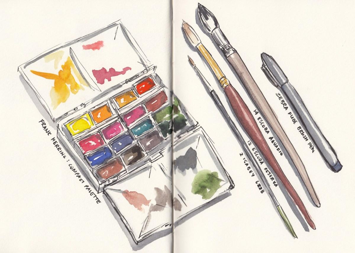 #Doodlewash - Watercolor sketch by Leslie Chua - studio tools - #WorldWatercolorGroup