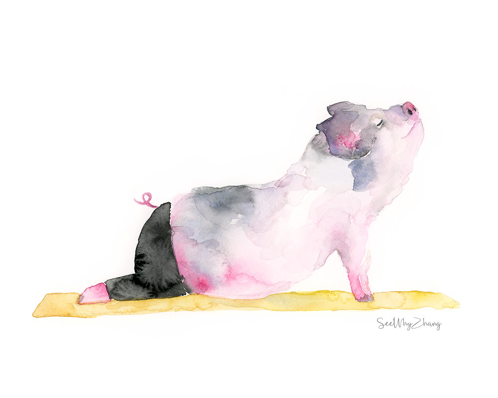 #Doodlewash - Watercolor by Cathy Zhang of Yogi Pig - #WorldWatercolorGroup