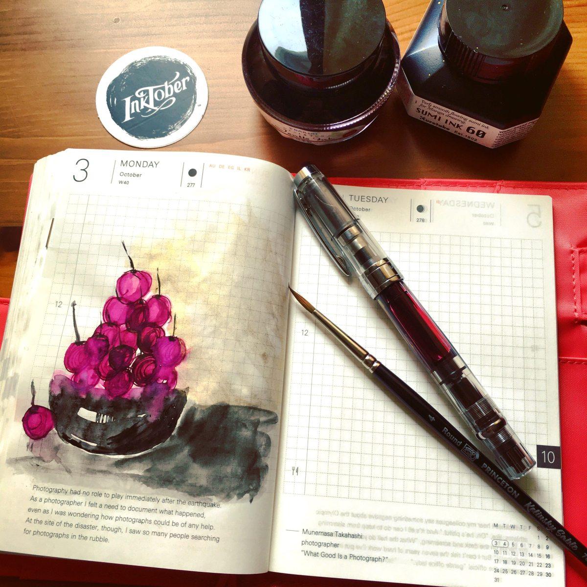 hobonichi techo fountain pen ink sketch of cherries by jessica seacrest, sailor Jentle oku-yama, zig sumi ink, gold, inktober, twsbi diamond 580 fountain pen
