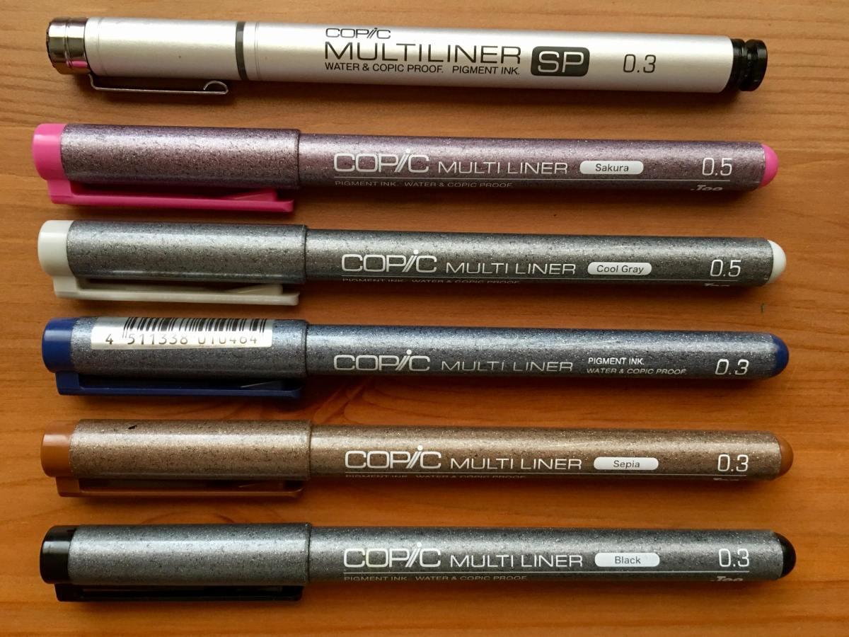 copic multinliner, black, sepia, blue, cool gray, sakura, multiliner sp, waterproof ink