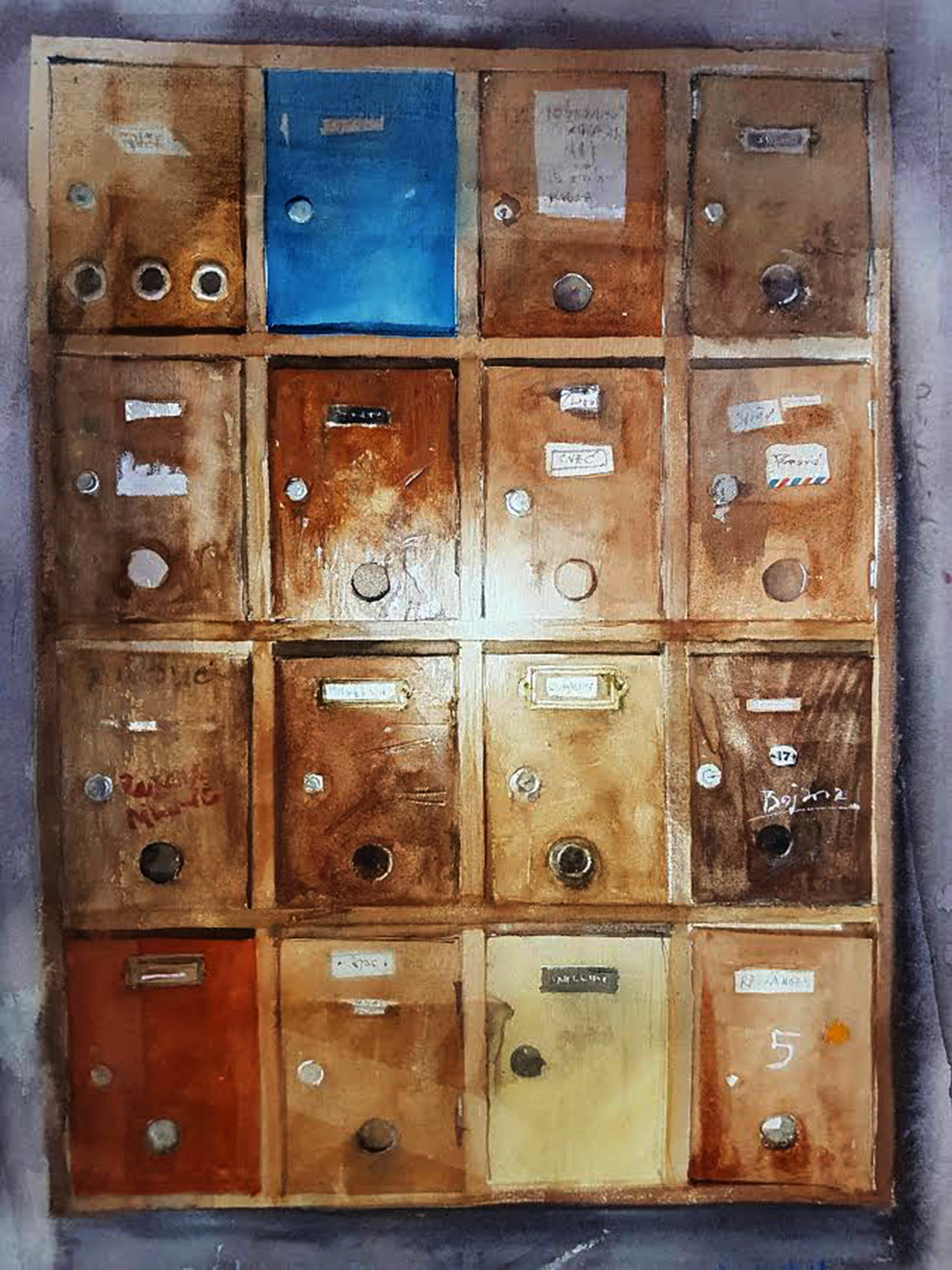 #WorldWatercolorGroup - watercolor by Dalibor Popovic Miksa of mail boxes - #doodlewash