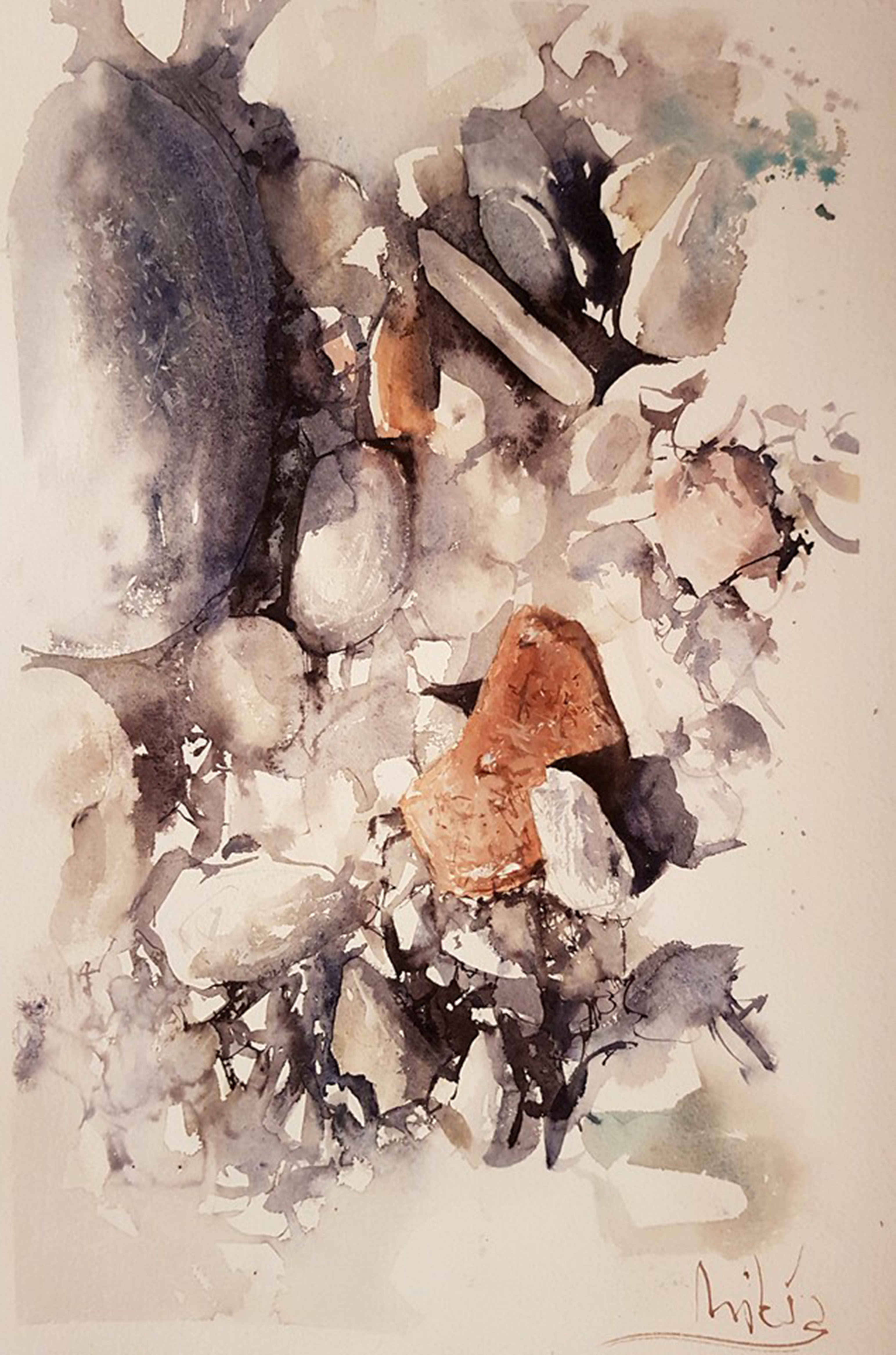#WorldWatercolorGroup - watercolor by Dalibor Popovic Miksa of rocks - #doodlewash