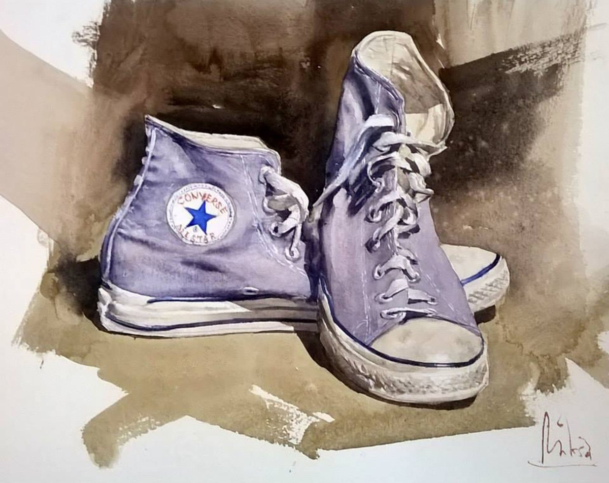 #WorldWatercolorGroup - watercolor by Dalibor Popovic Miksa of Purple Converse Tennis Shoes - #doodlewash