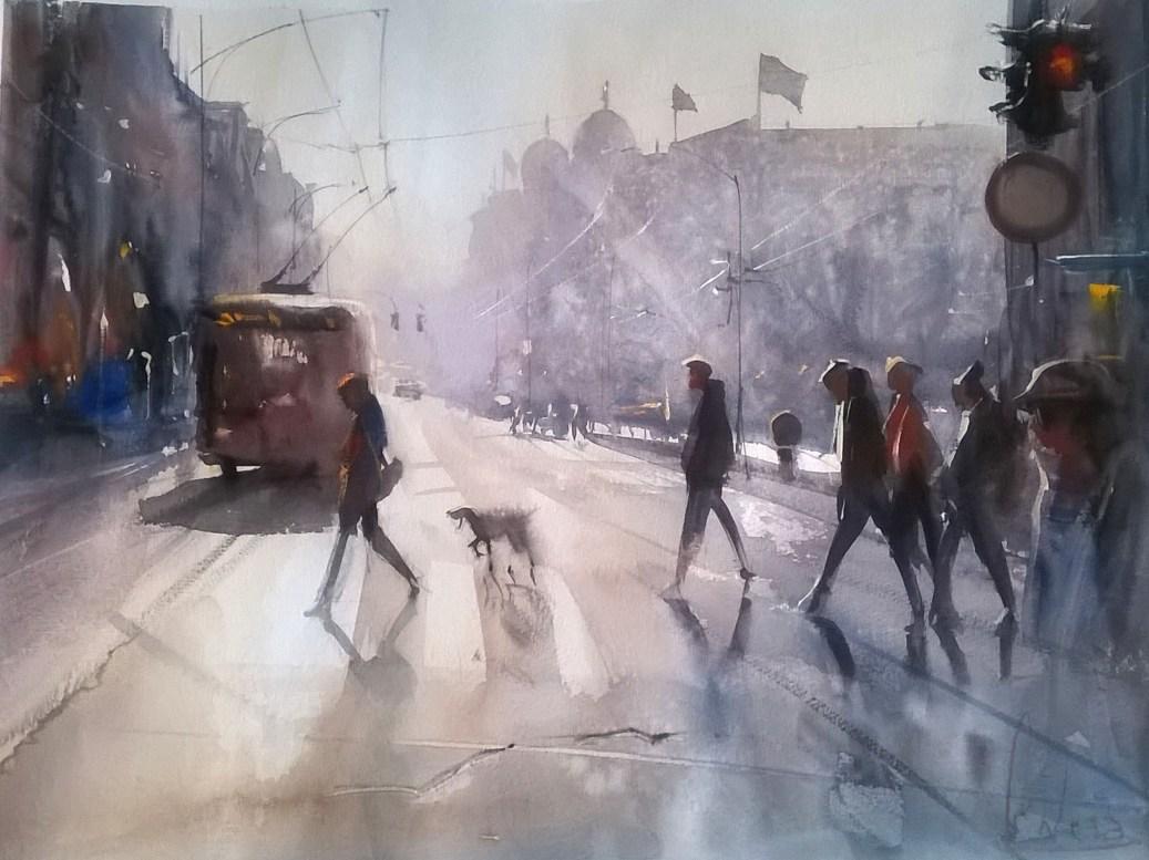#WorldWatercolorGroup - watercolor by Dalibor Popovic Miksa of city scene - #doodlewash