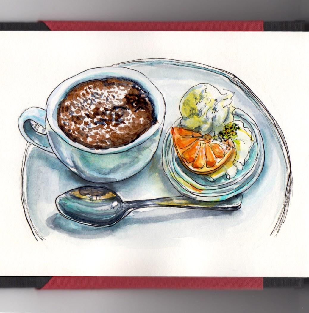 Day 10 #WorldWatercolorGroup Molten Lava Cake Gâteau Fondant au chocolat