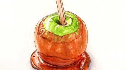 Day 21 - #WorldWatercolorGroup Apple Day UK With Caramel Apples