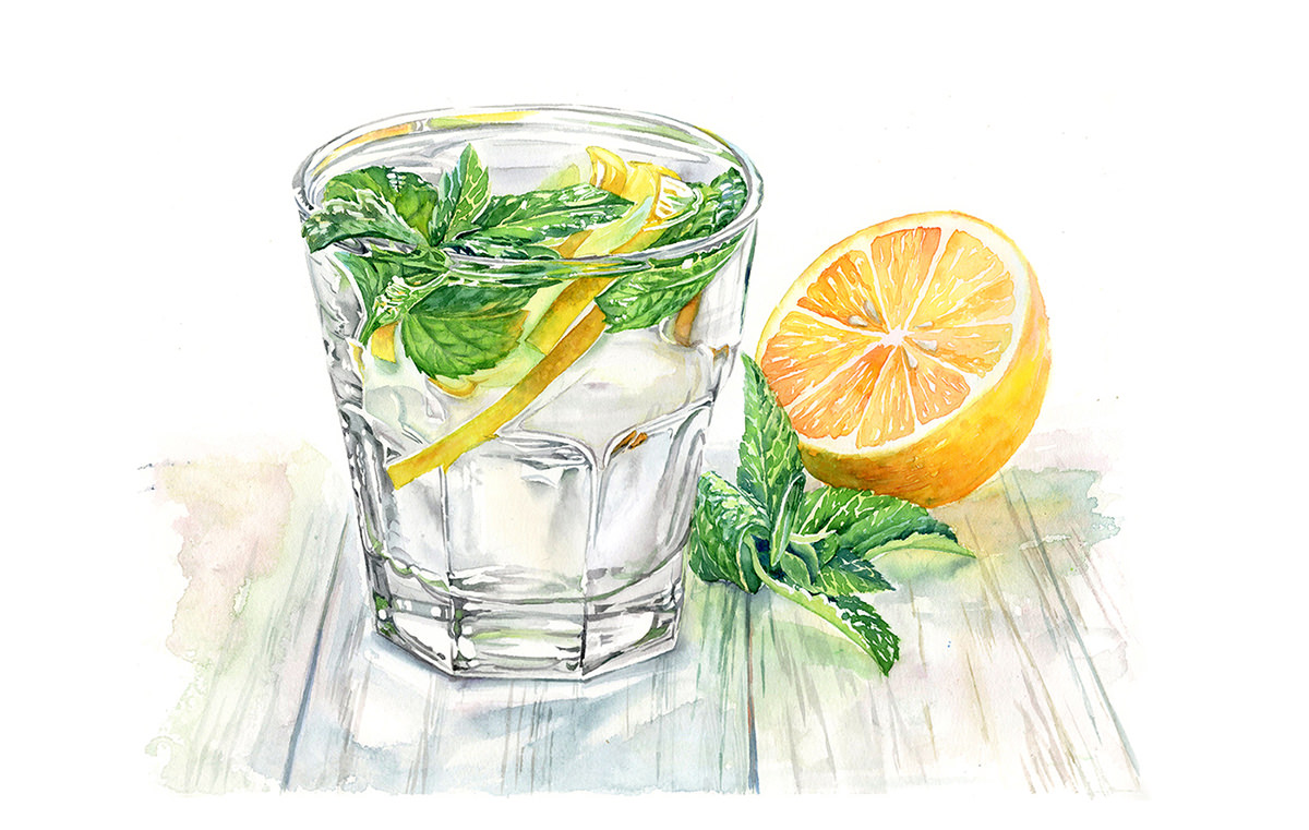 #WorldWatercolorGroup - Watercolor by Kateryna Savchenko of drink with lemon - #doodlewash
