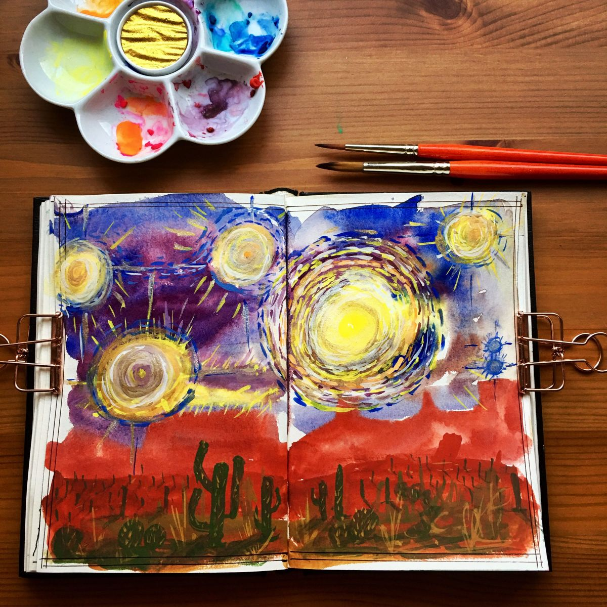 Caran d'Ache gouache studio 15 pan palette and Holbein artists gouache set of 18 tubes desert orb painting by jessica seacrest