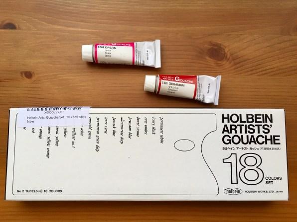 holbein artists gouache wet of 18 5ml tubes, geranium and opera