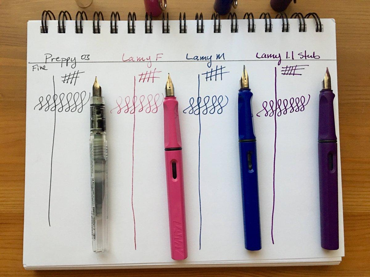 Platinum Preppy, Lamy Safari, Lamy Al-star, Noodler's Ahab, Noodler's brush pens, fountain pens, affordable fountain pens, fountain pens for sketching
