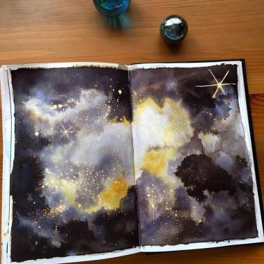 fountain pen ink nebula painting by jessica seacrest, parker quink ink
