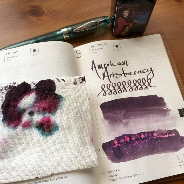 noodler's american aristocracy ink sample, ink variation, ink chromatography, hobonichi techo planner, noodlers ahab fountain pen