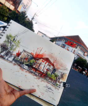 #WorldWatercolorGroup - Watercolor sketch by Noor Huda Bastomi of pemuda street #urbansketchers #usk - #Doodlewash