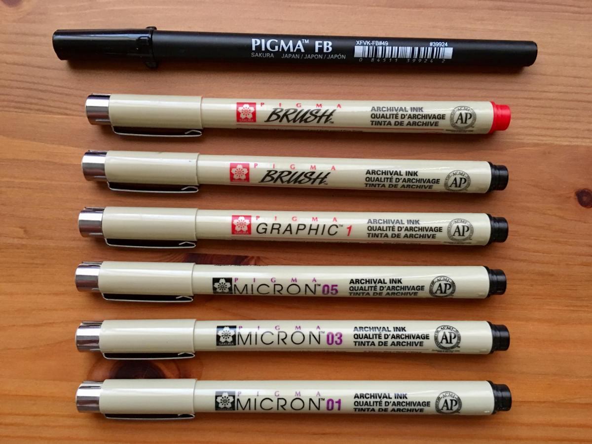 sakura pigma micron pens, sakura pigma professional brush pen