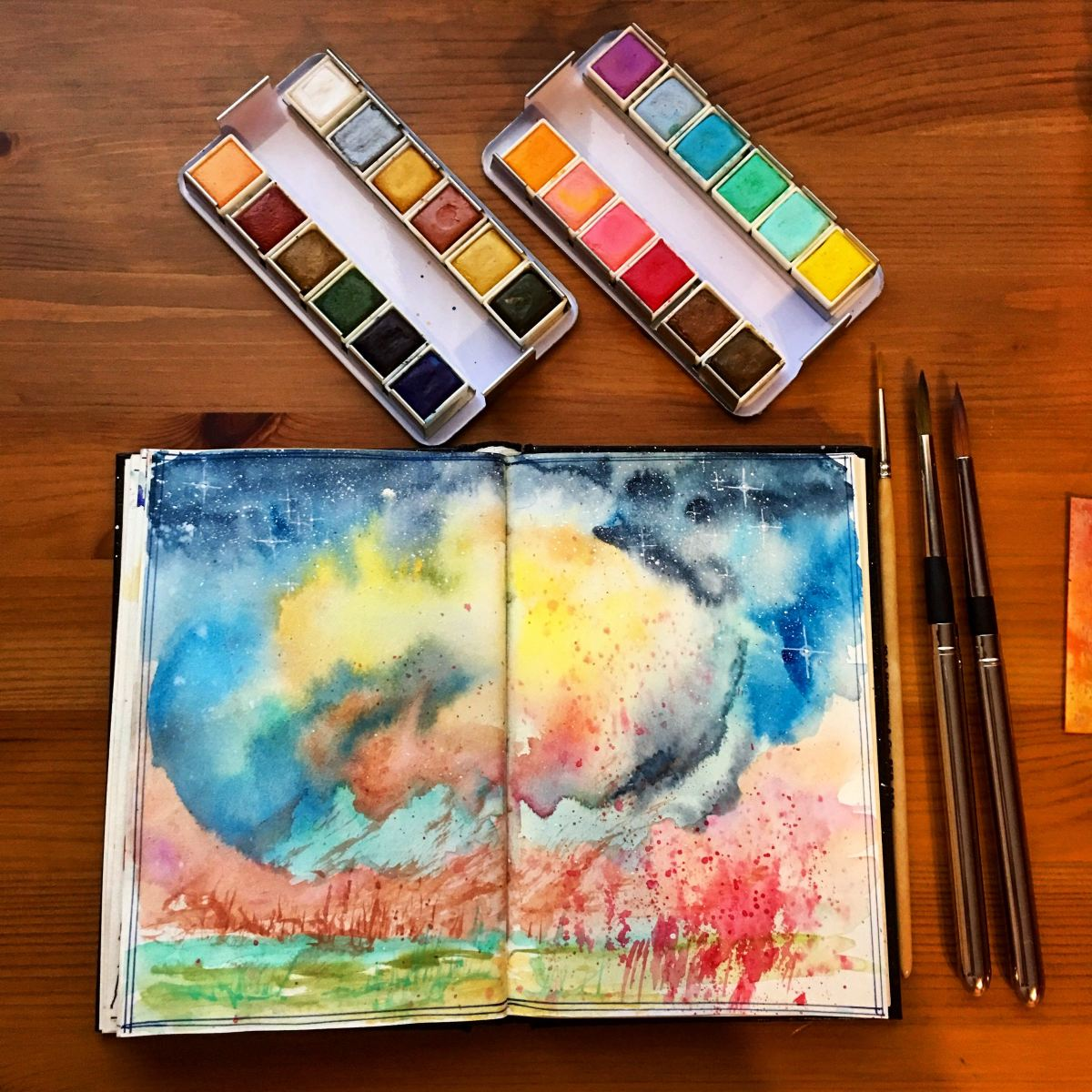 Prima Marketing watercolor confections pastel dreams and decadent pies painting by jessica seacrest in a stillman and Birn journal