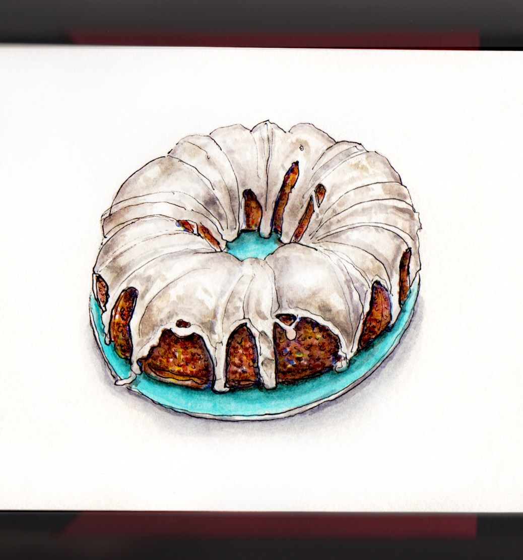 Day 15 - #WorldWatercolorGroup National Bundt Cake Day watercolor How to Make a Daily Painting Habit