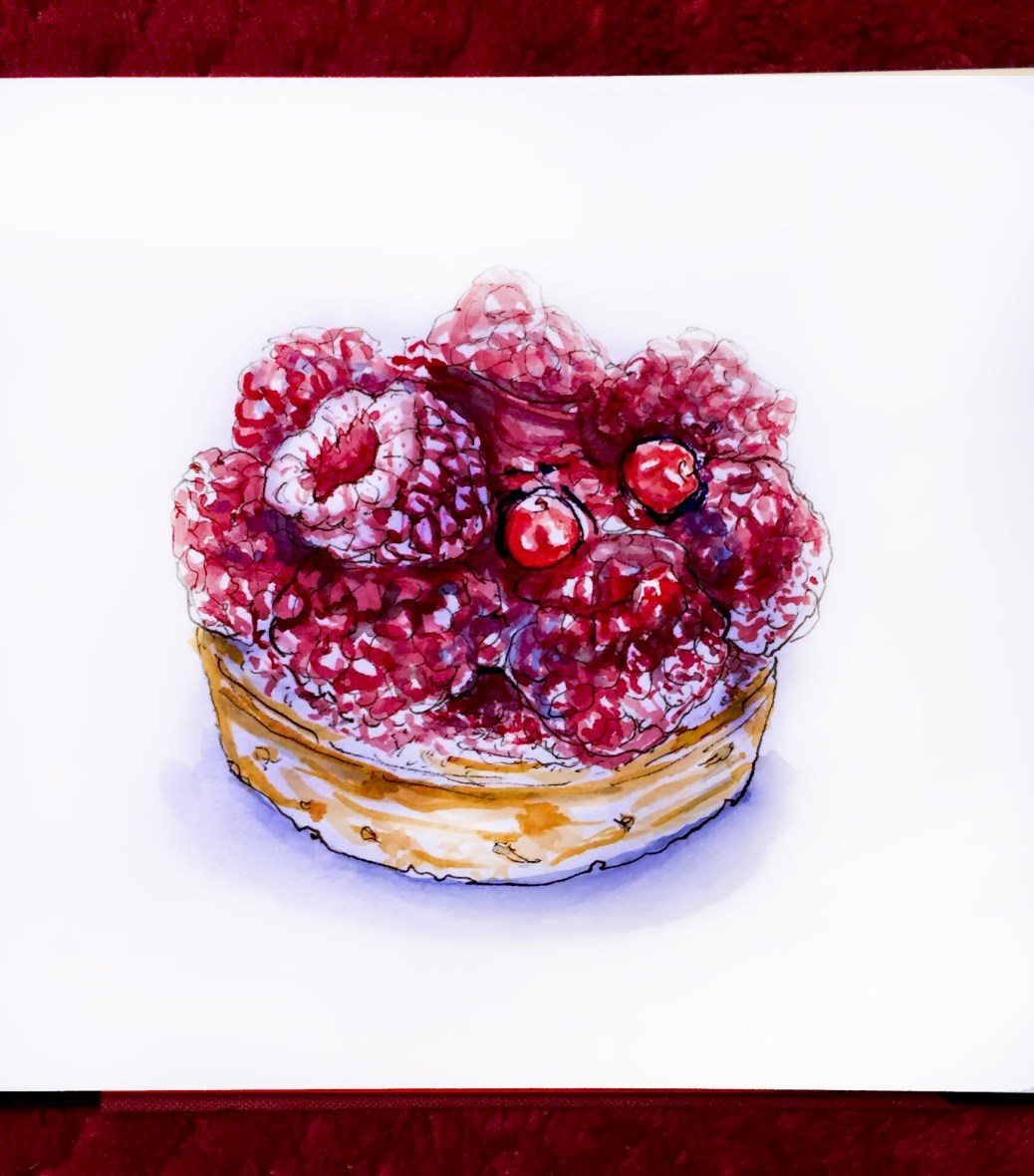 Day 26 - #WorldWatercolorGroup Tarte Aux Framboises Desserts Pastry Paris France Raspberry Tart