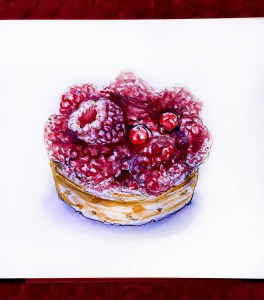 Day 26 - #WorldWatercolorGroup Tarte Aux Framboises Desserts Pastry Paris France Raspberry Tart