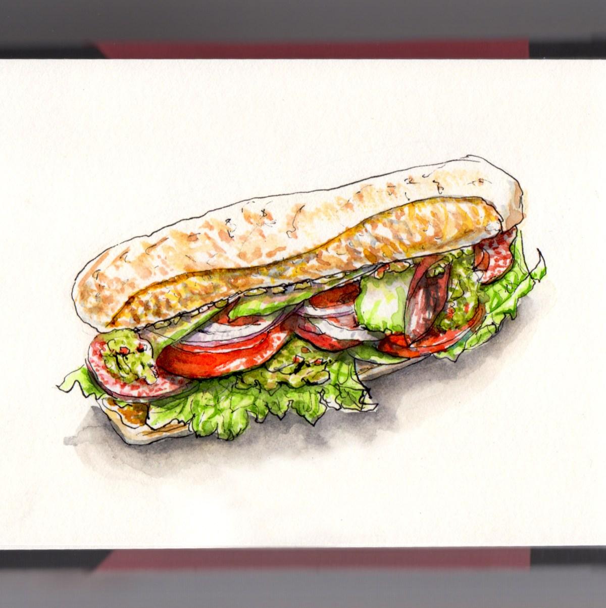 Day 3 - #WorldWatercolorGroup National Sandwich Day Submarine Sandwich Hoagie