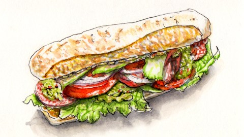 Day 3 - #WorldWatercolorGroup National Sandwich Day Submarine Sandwich Hoagie