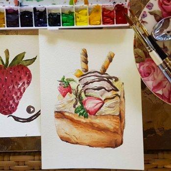 #WorldWatercolorGroup - Watercolor by Lynda Monteverde of dessert - #doodlewash