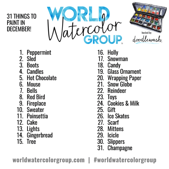 Doodlewash World Watercolor Group Prompts for December 2016