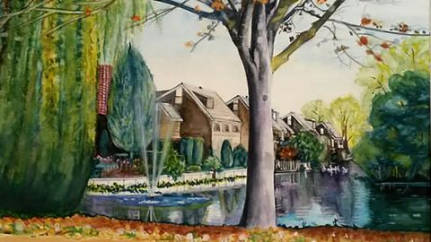 #WorldWatercolorGroup - Water color by Dianne Hermes of houses on water - #doodlewash