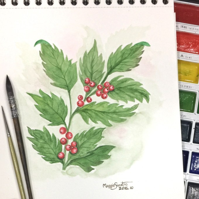 #WorldWatercolorGroup - Watercolor by Maggie Sumitro - Mistletoe - #doodlewash