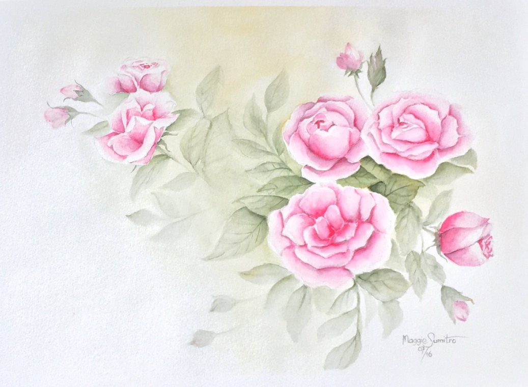 #WorldWatercolorGroup - Watercolor by Maggie Sumitro - Mom's Roses - #doodlewash