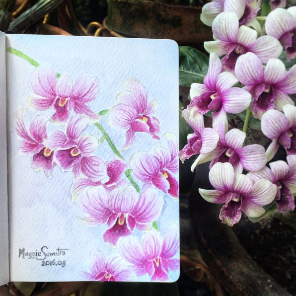 #WorldWatercolorGroup - Watercolor by Maggie Sumitro - Purple Orchid - #doodlewash